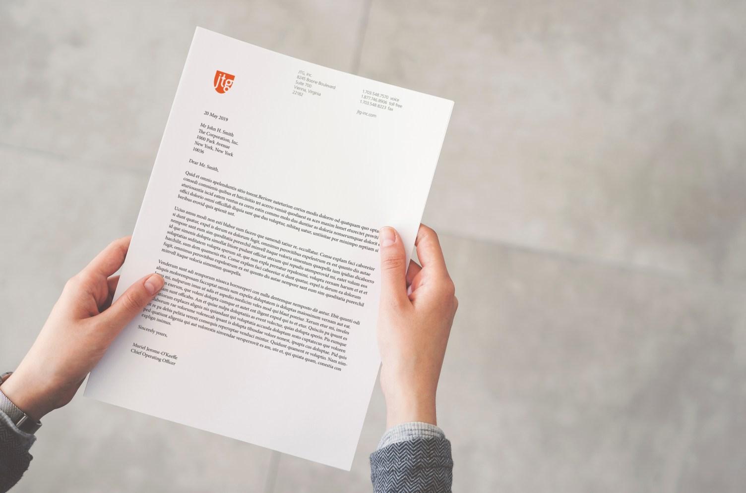 JTG, inc. letterhead