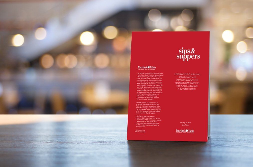 Sips & Suppers Table Menu