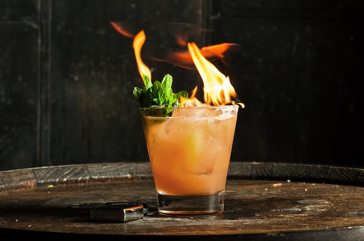 halloween cocktail up in flames