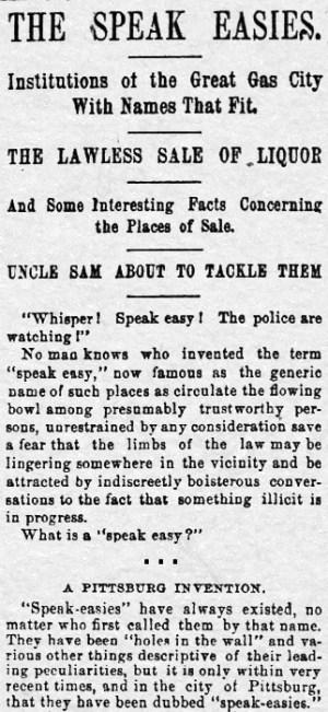 Origin of the word speakeasy