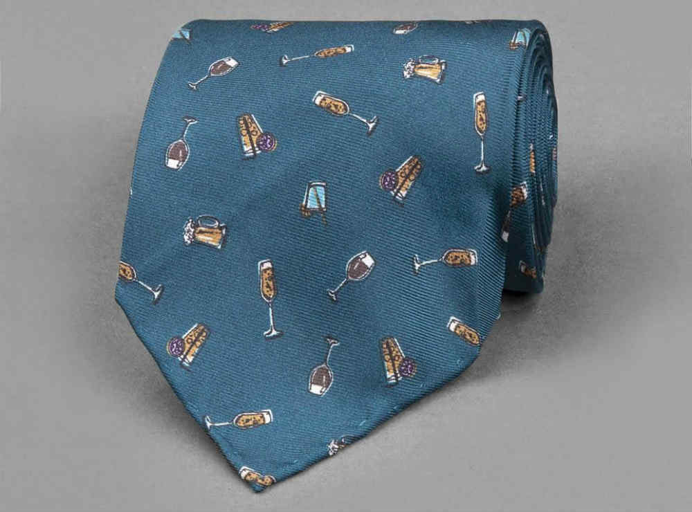 Blue Drinks Silk Tie