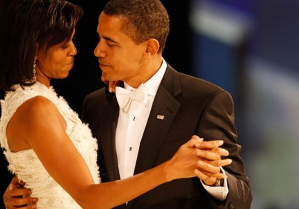 WASHINGTON - JANUARY 20:  US President Barack Obama dances with his wife and First Lady Michelle Obama during the Western Inaugural Ball on January 20, 2009 in Washington, DC.  (Photo by Chip Somodevilla/Getty Images)