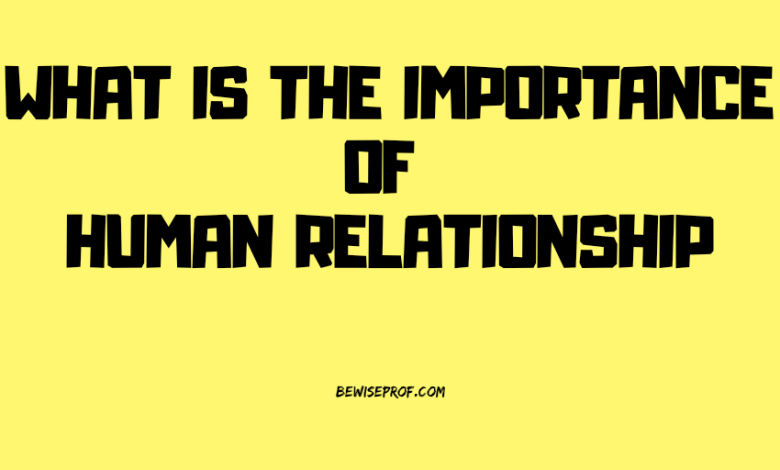 What is the importance of human relationship