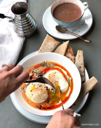 Turkish Poached Eggs with Yogurt and Aleppo Oil