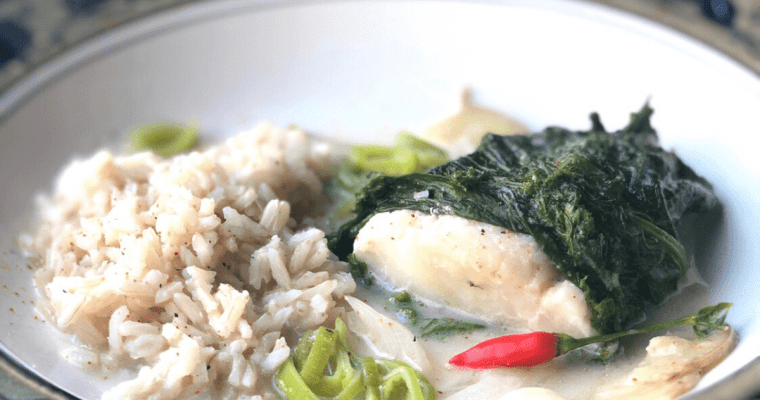 Cod Sinanglay |  Coconut Poached Cod Wrapped in Mustard Greens