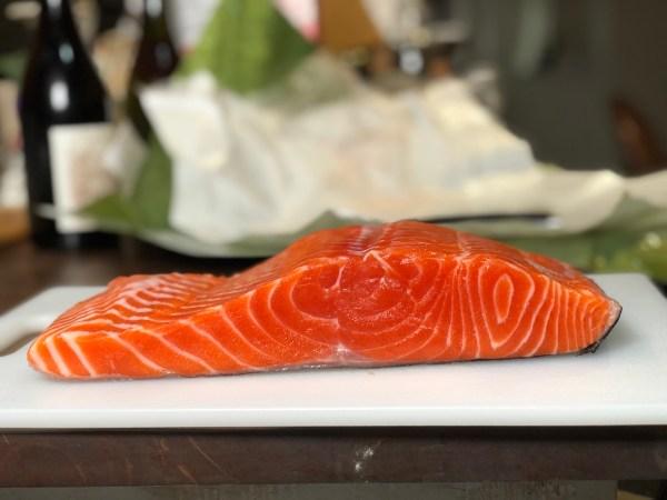 Marbling of an ora king salmon fillet