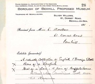 MUS-023 - Record of Kate Marsden's donation to the Museum