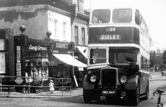 SID-033 - Sidley Bus in Ninfield Road corner of Sidley Street c1953 Barnett