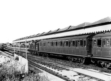 A Crowhurst service stands in platform 2, at Bexhill West, in May 1955.