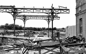 BW-046 - Bexhill West station, c1966, during demolition of the canopy. This view is looking north at platforms 1 and 2.