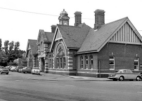 BW-059 - Bexhill West station seen from Terminus Road in 1968. The hut immediately west of the station building was built for the Civil Defence Corps after closure of the station.