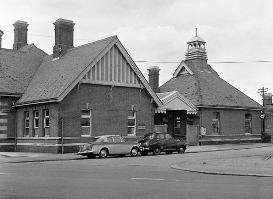 BW-060 - Bexhill West station side entrance between the two buildings in 1968.
