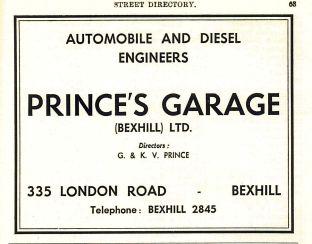 Prince's Garage advert 1960saa