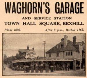 Waghorn's Garage, Town Hall Square, in 1929