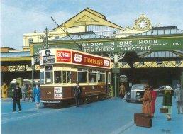 49 F class tram @ Brighton stn 1938, Kraemer-Johnson painting