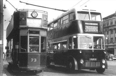 73 & trolley 5, Old Steine 1939