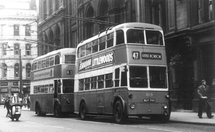 809 BDY799 service 47 to Little Horton in Tyrrel St 21-8-1963