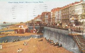 Beach west of Pier (Colour Postcard) 1924