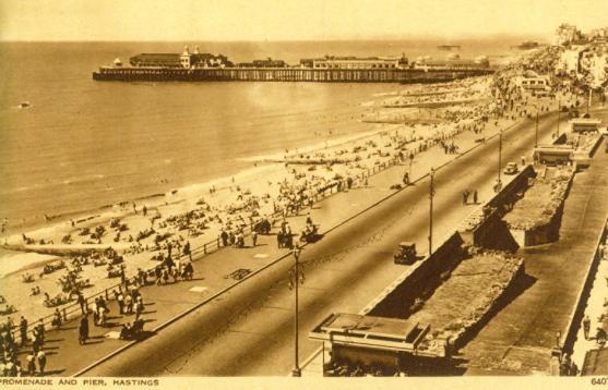 Carlisle Parade & Pier, elevated view 2-8-1955