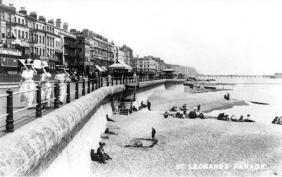 Grand Parade St Leo looking east on beach, tram passing far left
