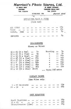 Marriott's Photos price list 1975