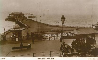 Pier from White Rock with paddle steamer leaving westards 6-9-1907