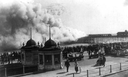 Pier on fire 1917 from White Rock Parade
