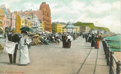 White Rock Parade looking east tinted pc, Edwardian