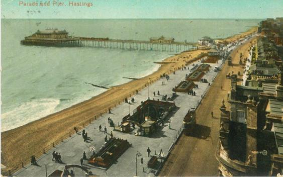White Rock Parade & pier looking west from high building pc 17-7-1914