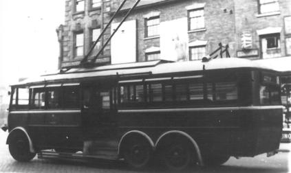 ex Hastings s-d Guy trolleybus in service, wartime