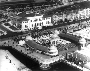Pier bandstand & White Rock Pavilion aerial view from south-west