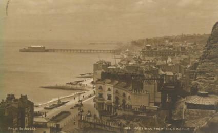 seaffront & piers looking west from castle pm 21-7-1915