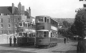 104 route 58 to Victoria ascending Dog Kennel Hill past special, post-war