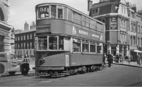 106 route 84 to Peckham Rye @ County Hall (Lambeth Circus), post-war