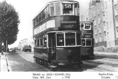109 route 58 to Victoria & 186 84 to Peckham Rye on Dog Kennel Hill c1950