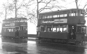 128 route 56 to Streatham Hill @ Savoy St 24-2-1951, Feltham car behind