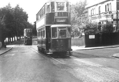 135 route 56 to Embankment @ Peckham Rye terminus, postwar