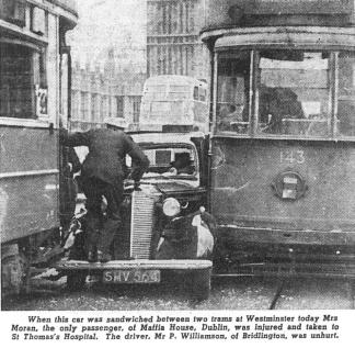 143 in accident with another tram & car, Westminster Bridge, post-war