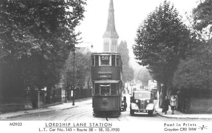 145 route 58 to Blackwall Tnl @ Lordship Lne stn, 18-10-1950