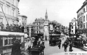 2 & two others trams & horse bus, Albert Memorial looking east