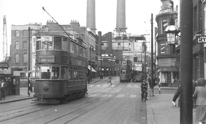84 route 36 to Abbey Wood with tram & trolley in background 16-6-1952
