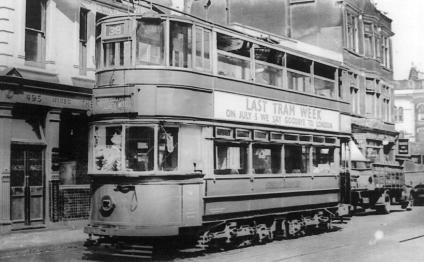 96 route 38 to Abbey Wood @ Deptford, last tram week 1952