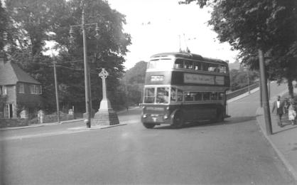 AEC d-d trolleybus @ Harold Rd-Old London Rd junc by market cross