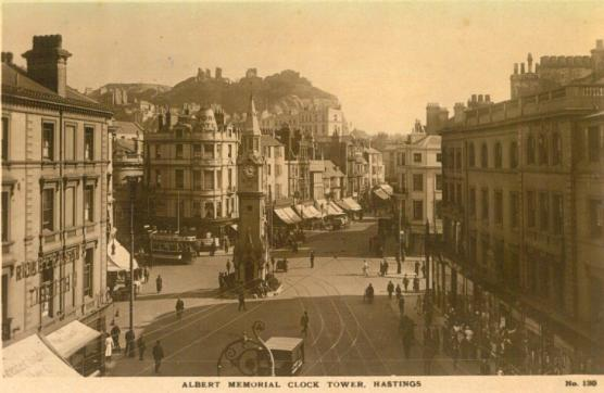 Albert Memorial elevated view from west with side of tram c1920
