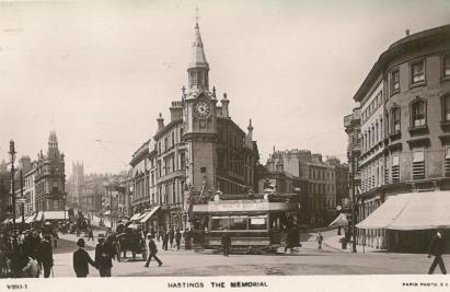 Albert Memorial from east CAmbridge-Havelock Rd junc, side view tram pc 29-9-1907