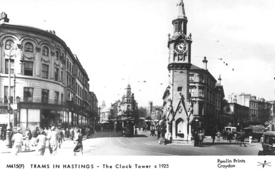 Albert Memorial, trams Cambridge Rd c1925