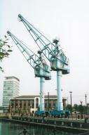 Dock cranes by Salford Quays stn