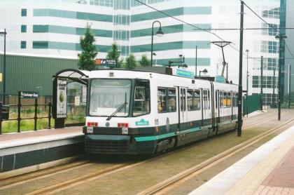 Exchange Quay stn, tram to Piccadilly in platform