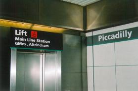 Piccadilly name board & lift