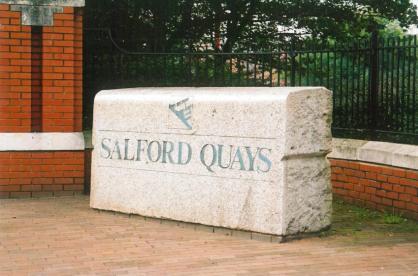 Salford Quays name stone